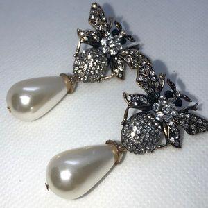 Blingy Pearl and Rhinestone Bee Earrings